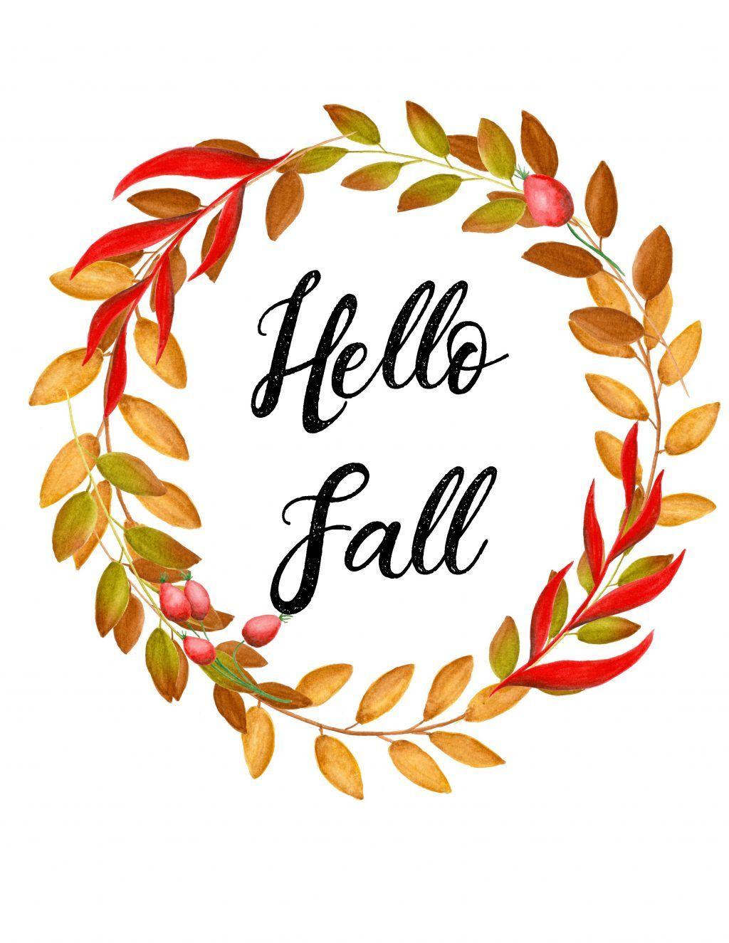 Free Autumn Printables- Watercolor and Calligraphy fall art #hellofall