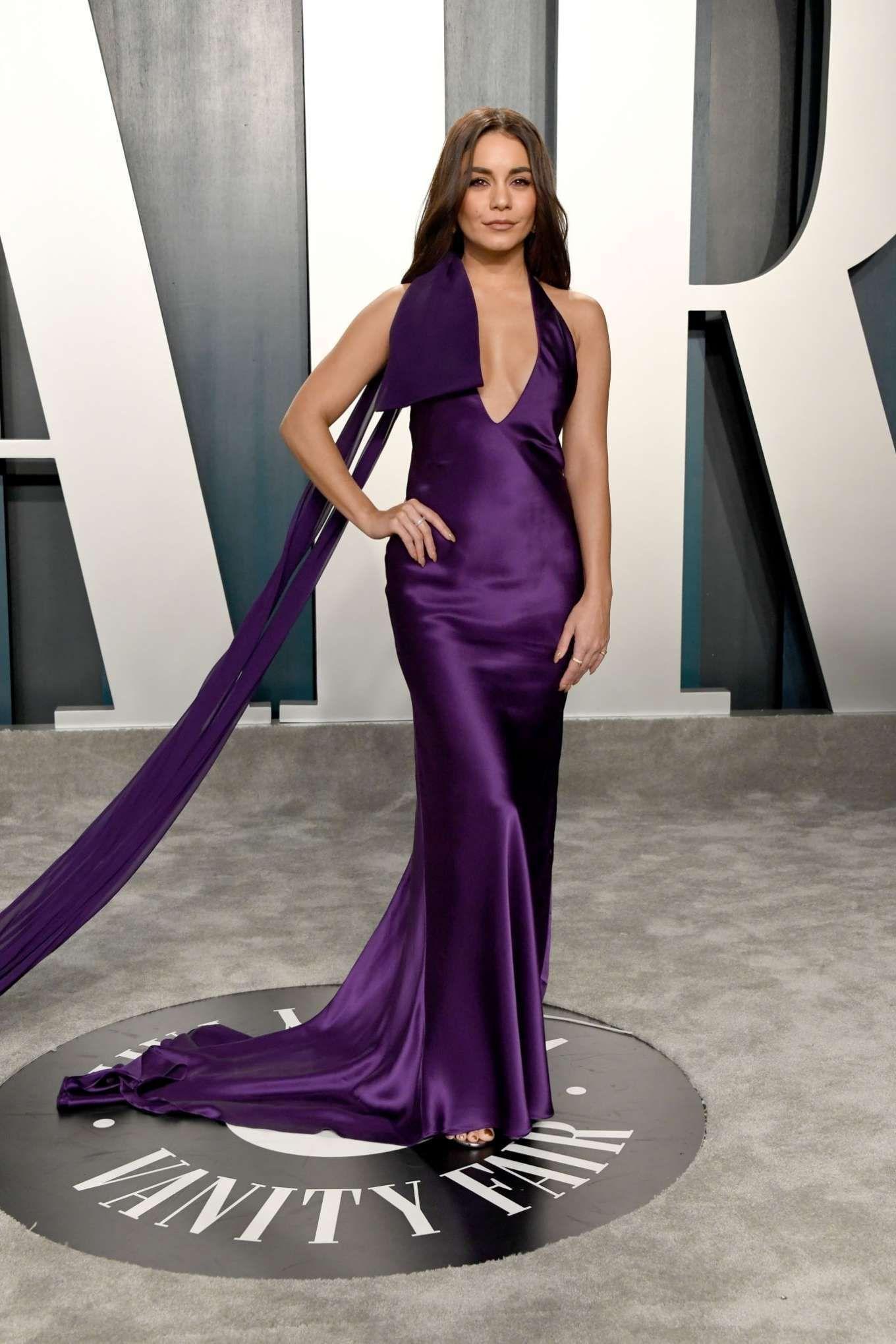 Vanessa Hudgens Purple Satin Maxi Dress 2020 Vanity Fair Oscar Party 2020 On Sassy Daily Dresses Purple Satin Dress Nice Dresses [ 2039 x 1360 Pixel ]