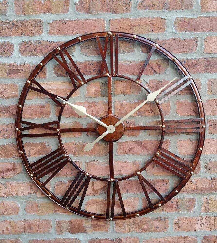 ff0144cc5f56 LARGE OUTDOOR GARDEN WALL CLOCK BIG ROMAN NUMERALS GIANT OPEN FACE METAL  70cm