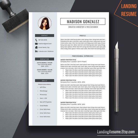 Creative Resume Template Cover Letter Word Us By Landingresume