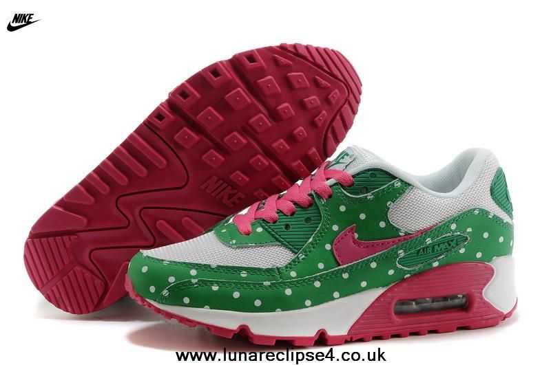 online store 2fec4 7117f Nike Air Max 90 Women iD Polka Dots White Green Pink