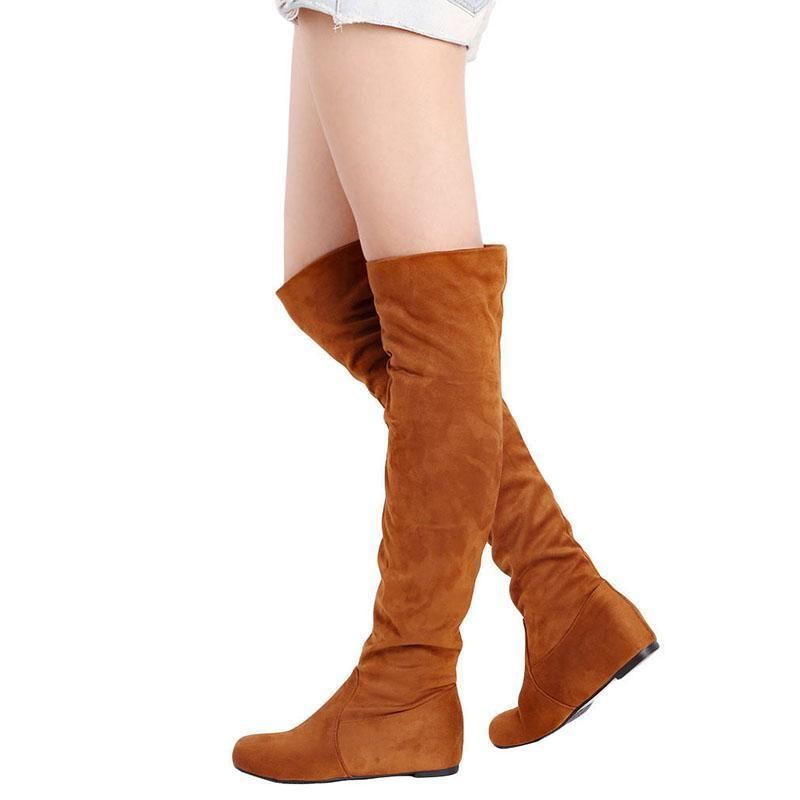 0bbfa5d94093 Fashion Women Winter Flat Bottom Shoes Over The Knee Thigh High Suede Long  Boots