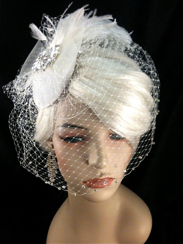 898175253 Birdcage Veil, Bridal Hat, Ivory, Feather Fascinator, Wedding Head Piece,  Veil, Swarovski Crystals and Rhinestones - Velvet or Dupioni Silk.