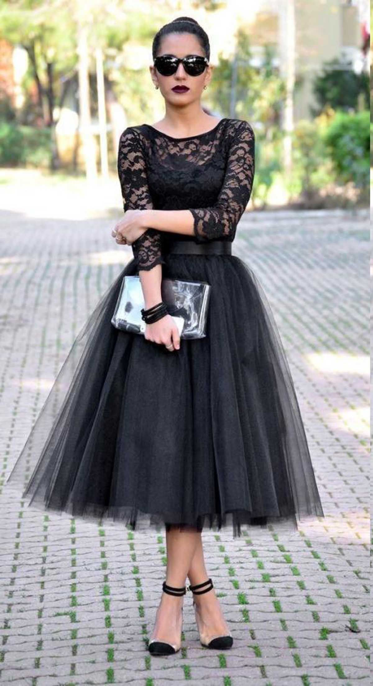 Gothic tea length black evening dresses sleeves falda