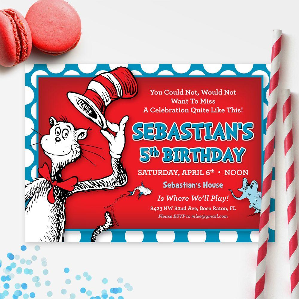 Dr Seuss Birthday Invitation   DIY Birthday Party Printables ...
