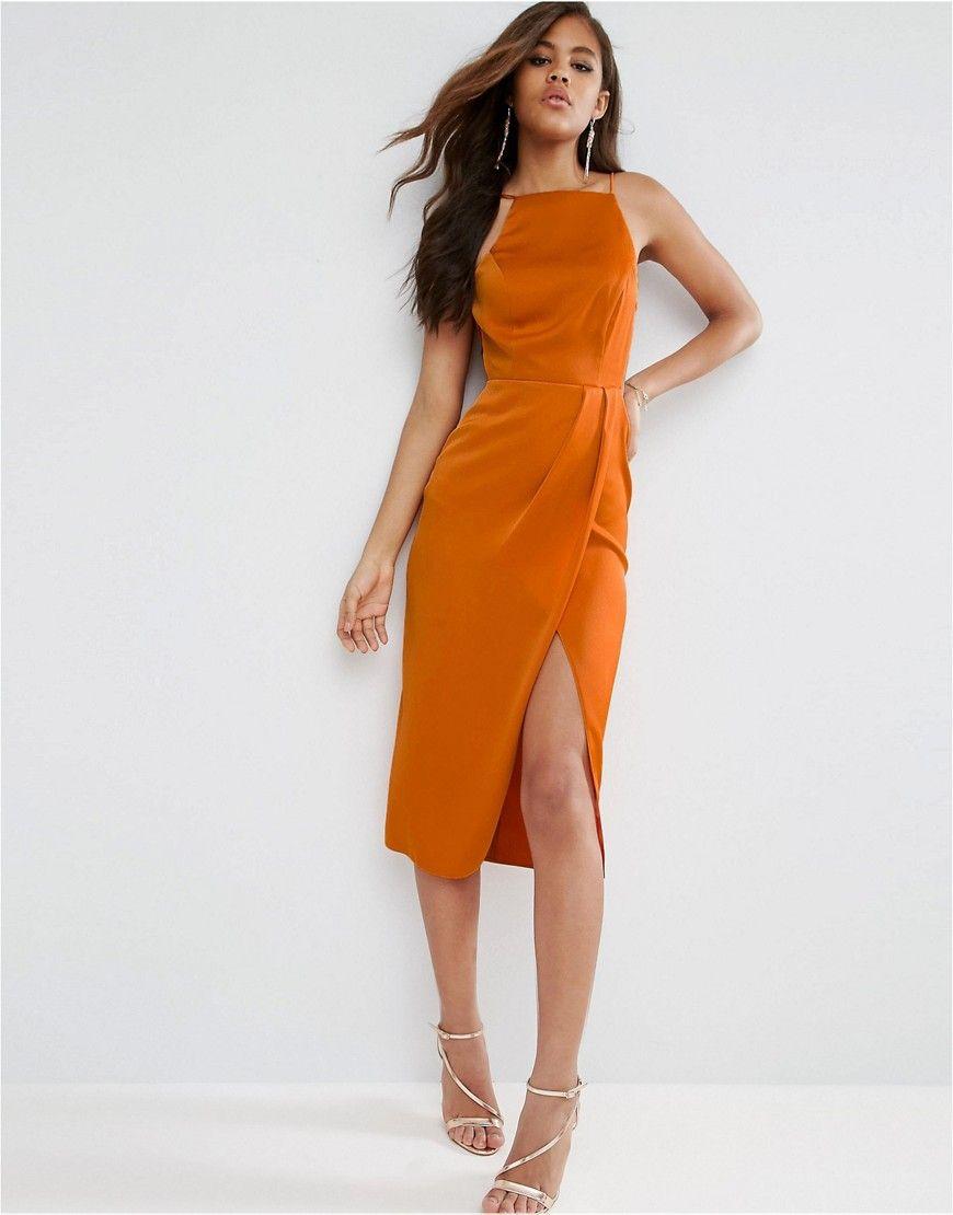 d7139e70d2e0 TALL Drape Front Delicate Back Midi Dress in 2019 | Satin dresses ...