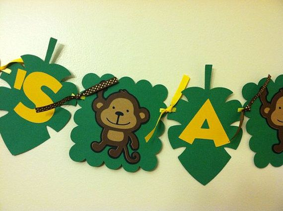 Baby Shower Monkey Images ~ Jungle theme baby shower banner monkey banner monkey by niudesigns