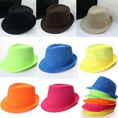 54be19b191604 Women Men Unisex Jazz Neon Panama Fedora Trilby Cap Sun Summer Beach Brim  Hat