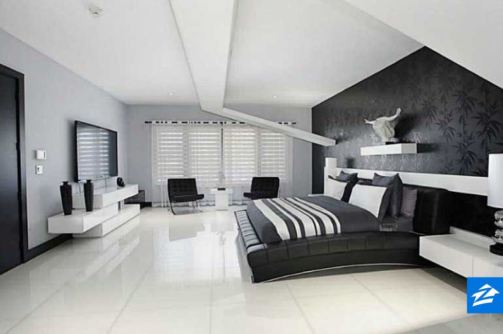 Textured Wallpaper Behind The Bed Adds Extra Dimension To This Sleek Black And White Room Bedroom Bed Design Home Bedroom Design
