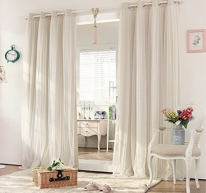 Double Layer Blockout With Lace Curtains Cream Beige Cream