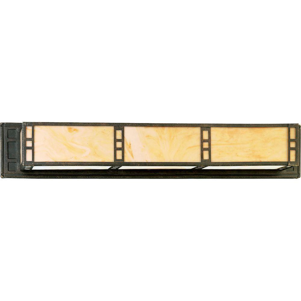 Progress Lighting Arts and Crafts Collection 3-Light Weathered Bronze Vanity Fixture