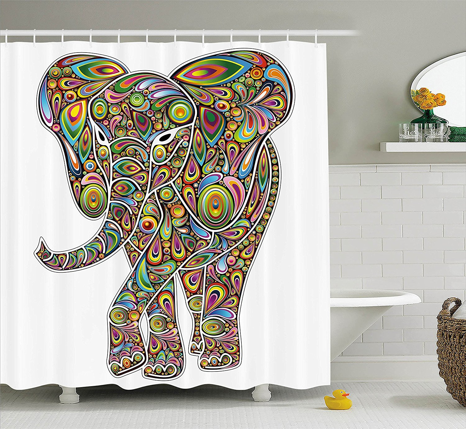 Psychedelic Hippie Elephant Shower Curtain Elephant Shower