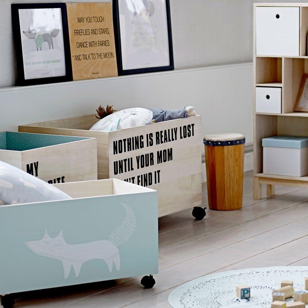 Caisses de rangement Bloomingville avec roulettes - Chambre enfant ...