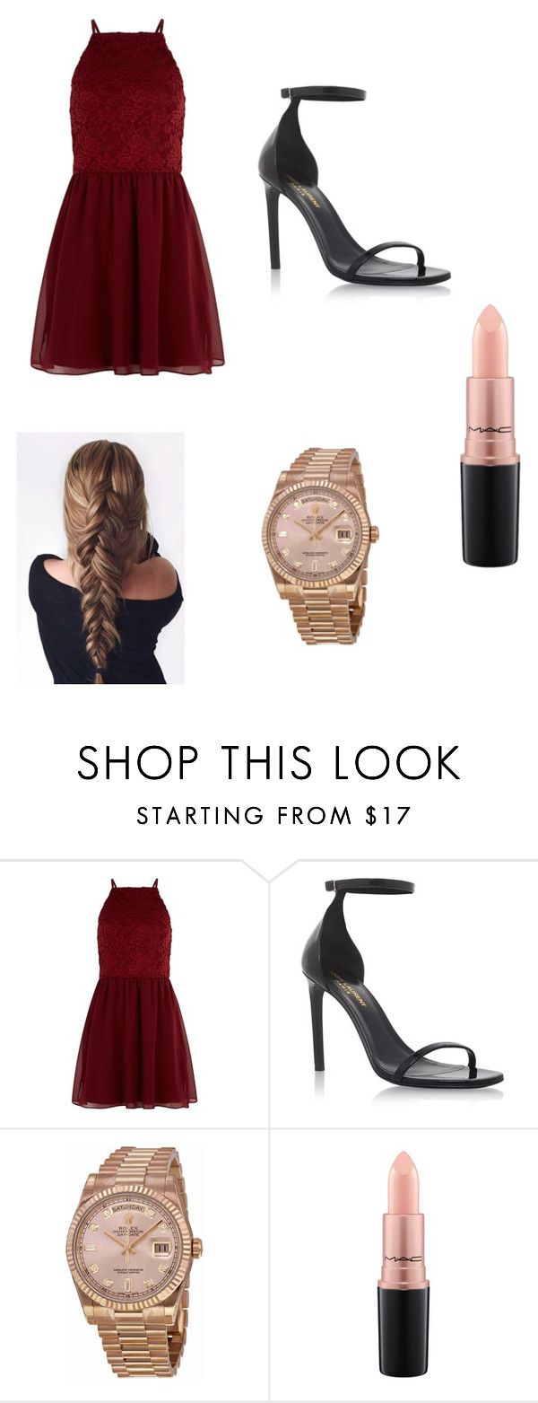 """""""Untitled #70"""" by ryanandjessicaforever on Polyvore featuring New Look, Yves Saint Laurent, Rolex and MAC Cosmetics"""