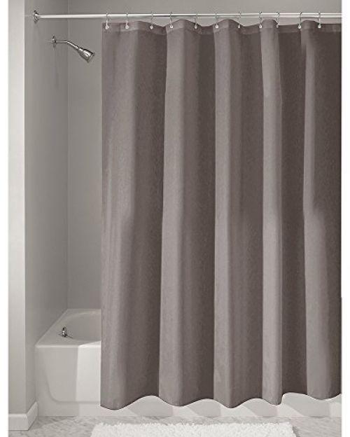 InterDesign Mildew-Free Water-Repellent Fabric Shower Curtain 72x72 Dark Taupe #InterDesign