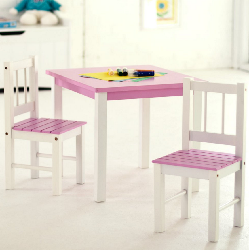 Fun Size Kids Small Table And Chair Set Is As Functional Inviting For Children Available In Four Color Choices To Fit Any Playroom Bedroom Decor Or