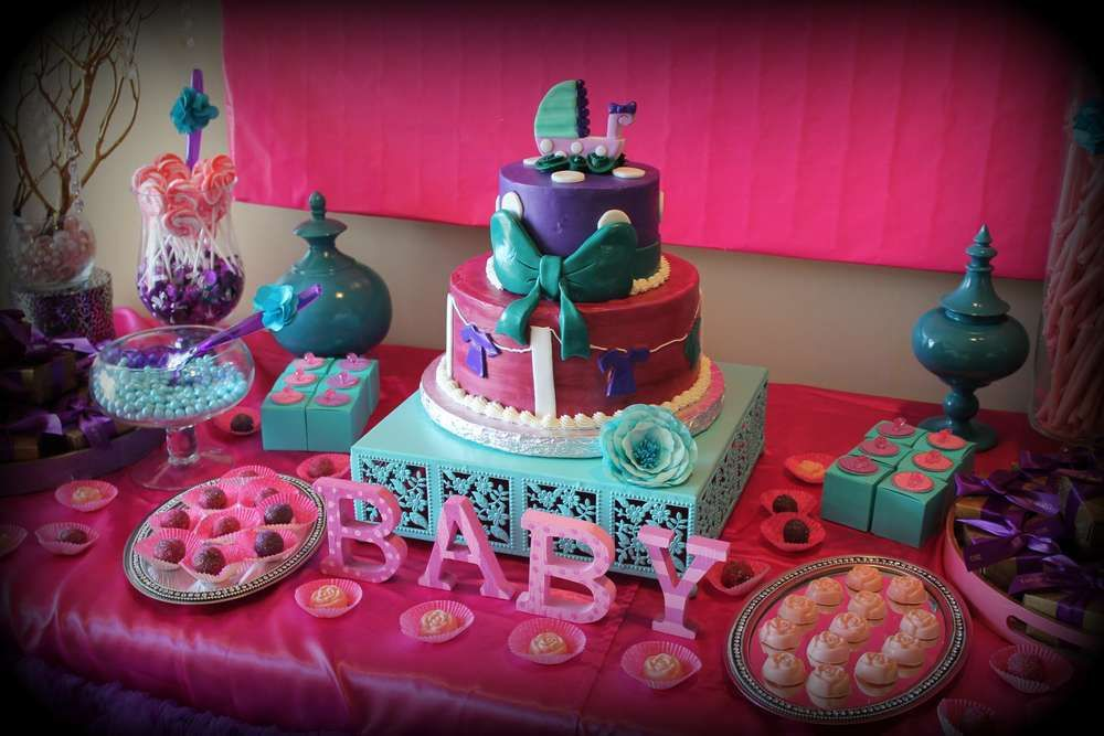 Pink Purple Turquoise Its A Girl Baby Shower Party Ideas Cake
