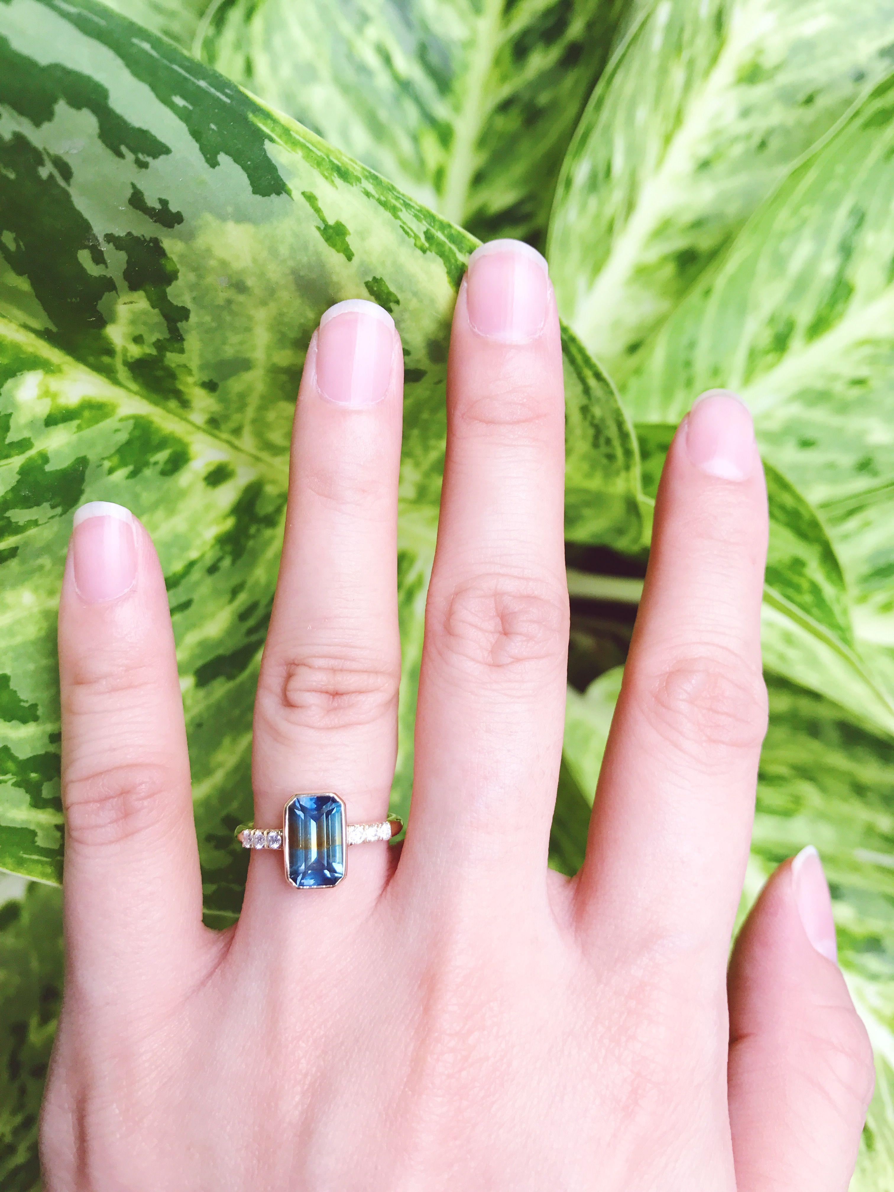 Bi-coloured Blue Orange Sapphire Engagement Ring with Side Diamonds ...
