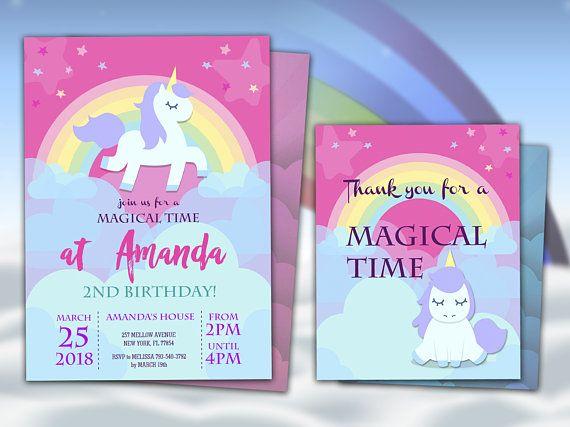 unicorn party invitation and thank you card unicorn