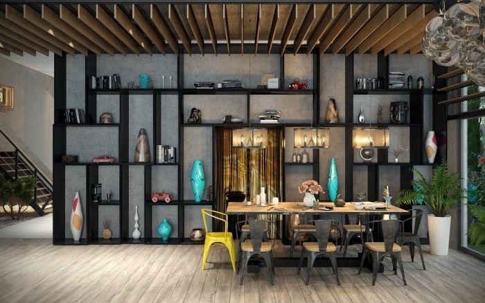 mobilier industriel, décoration de salle à manger loft aux murs - table salle a manger loft