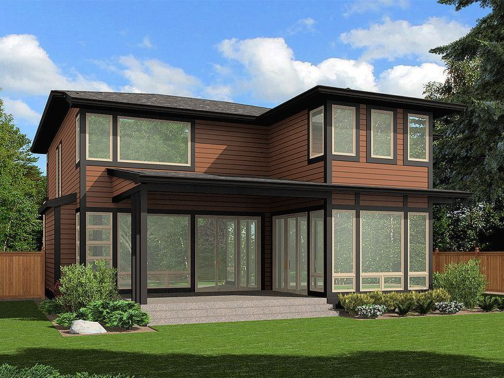 Rear View, 035H-0125 | Contemporary house plans, House ...