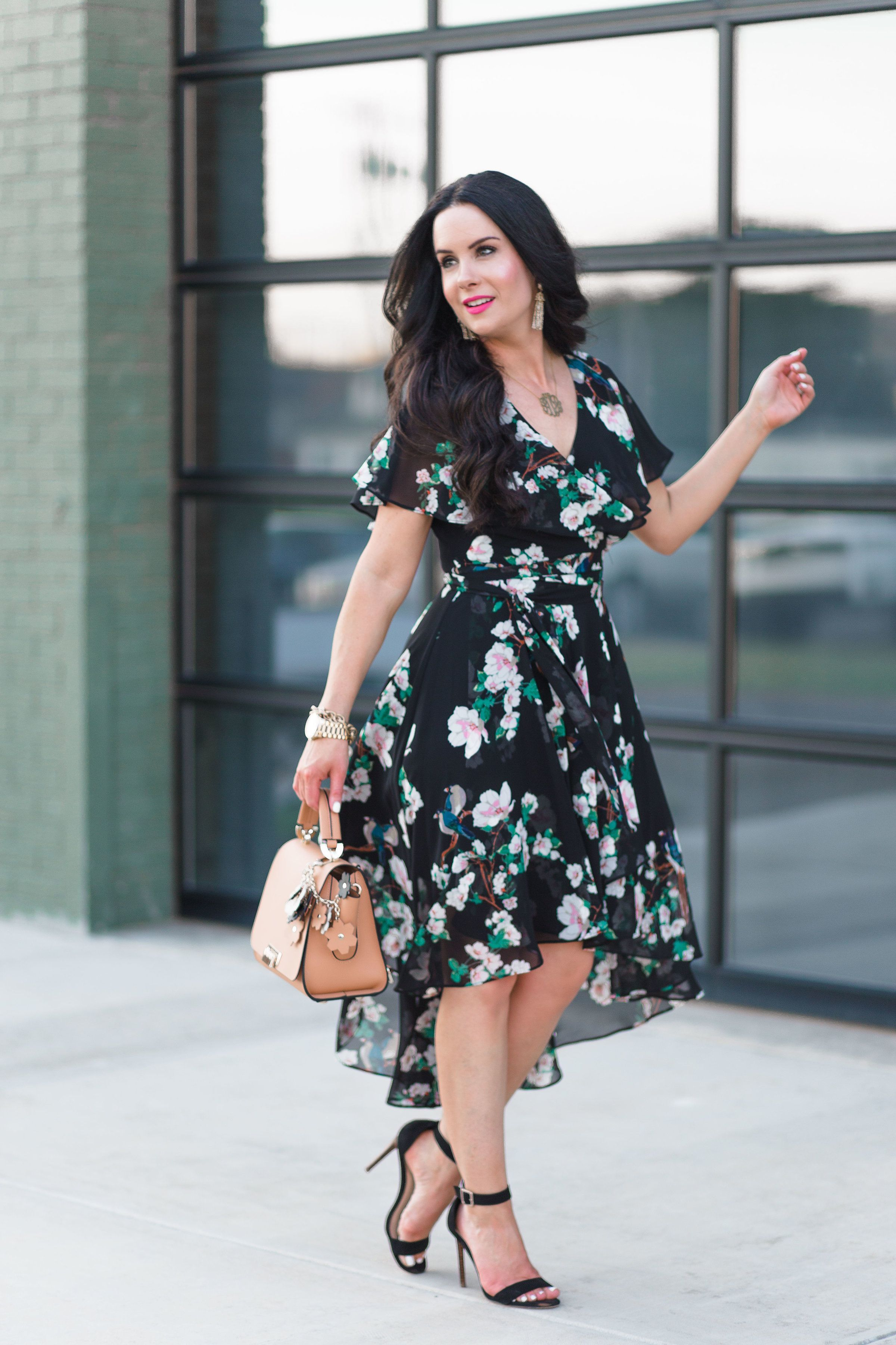 Polka Dots Fl Eliza J Wrap Dresses For Fall