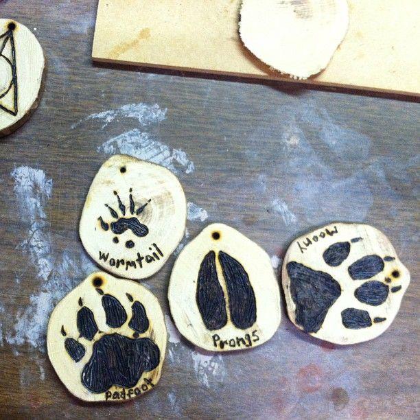 Harry Potter Marauders Moony, Wormtail, Padfoot, & Prongs hand made wood burned trinkets