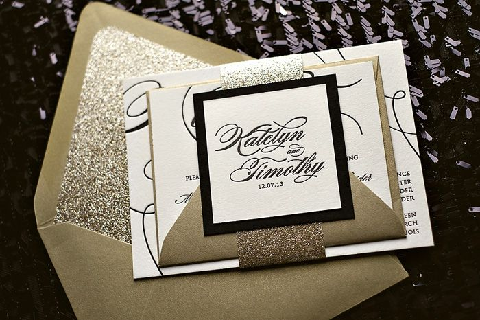 Perfect Gold Black And White Wedding Invitation Stationary