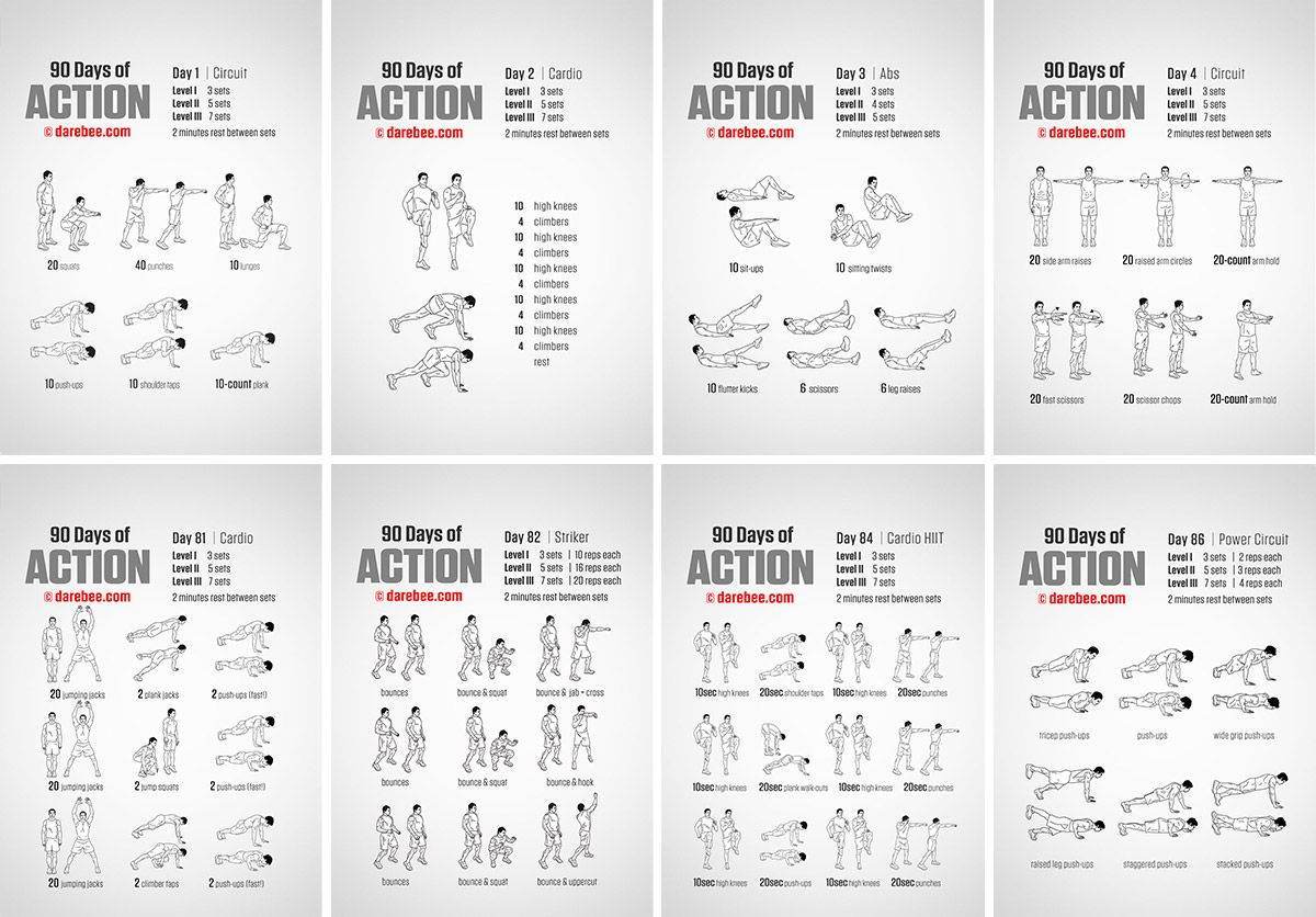90 Days Of Action 60 Day Challenge 90 Day Workout Plan Exercise Cards Printable