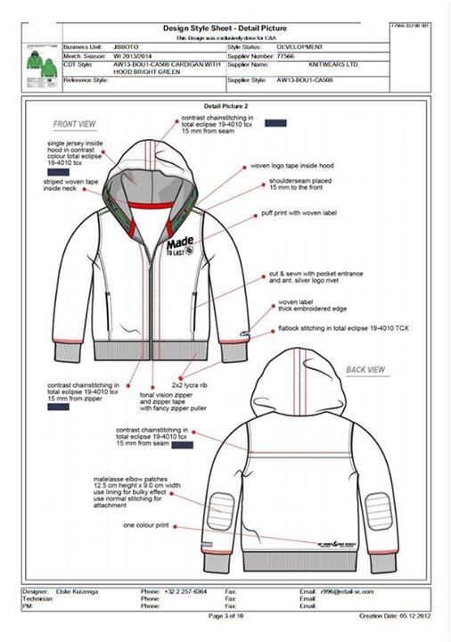 Jacket Technische Zeichnung Planer Zeichnung