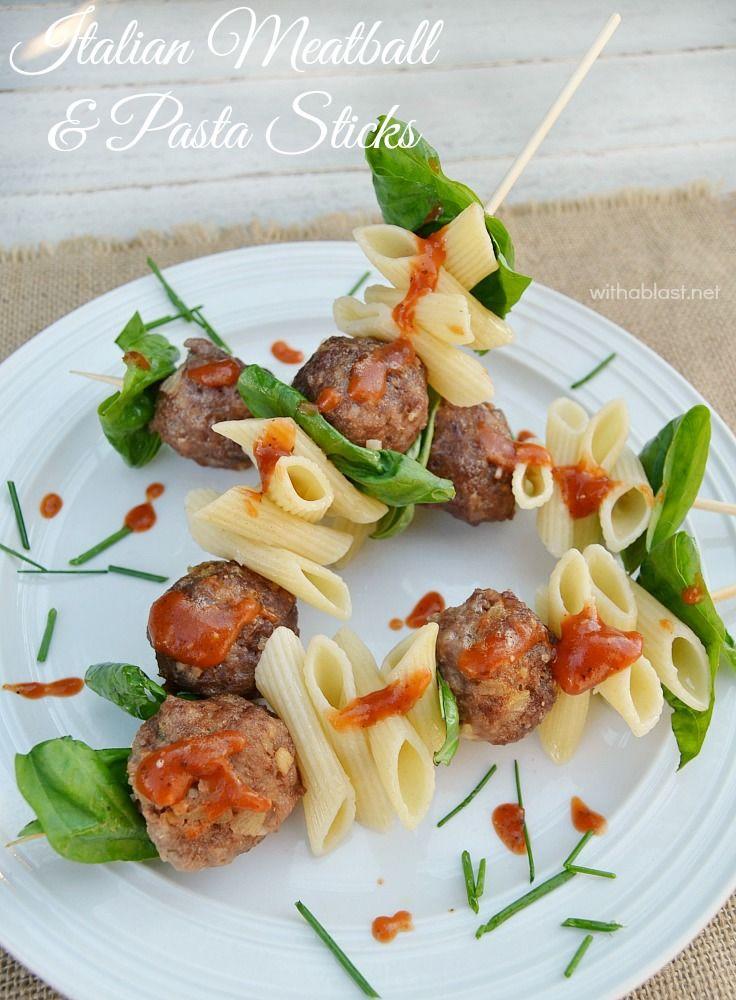 Italian meatball and pasta sticks recipe veggies for Meatball canape