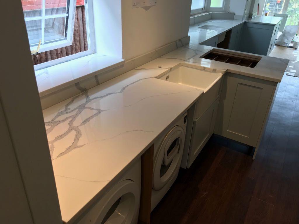 Classic Stone Statuario Quartz Kitchen worktop, Kitchens