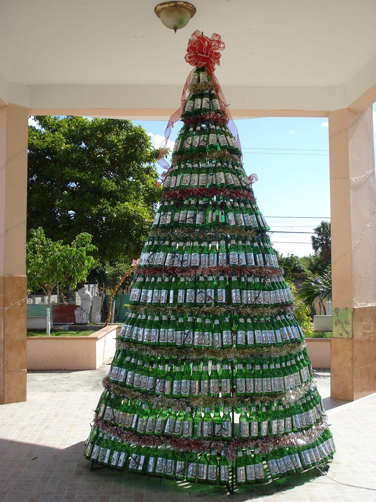 Christmas tree made of El Presidente Beer Bottles | Dominican ...
