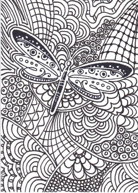 Coloring Pages Dragonfly Zen Tangle Insect Coloring Pages