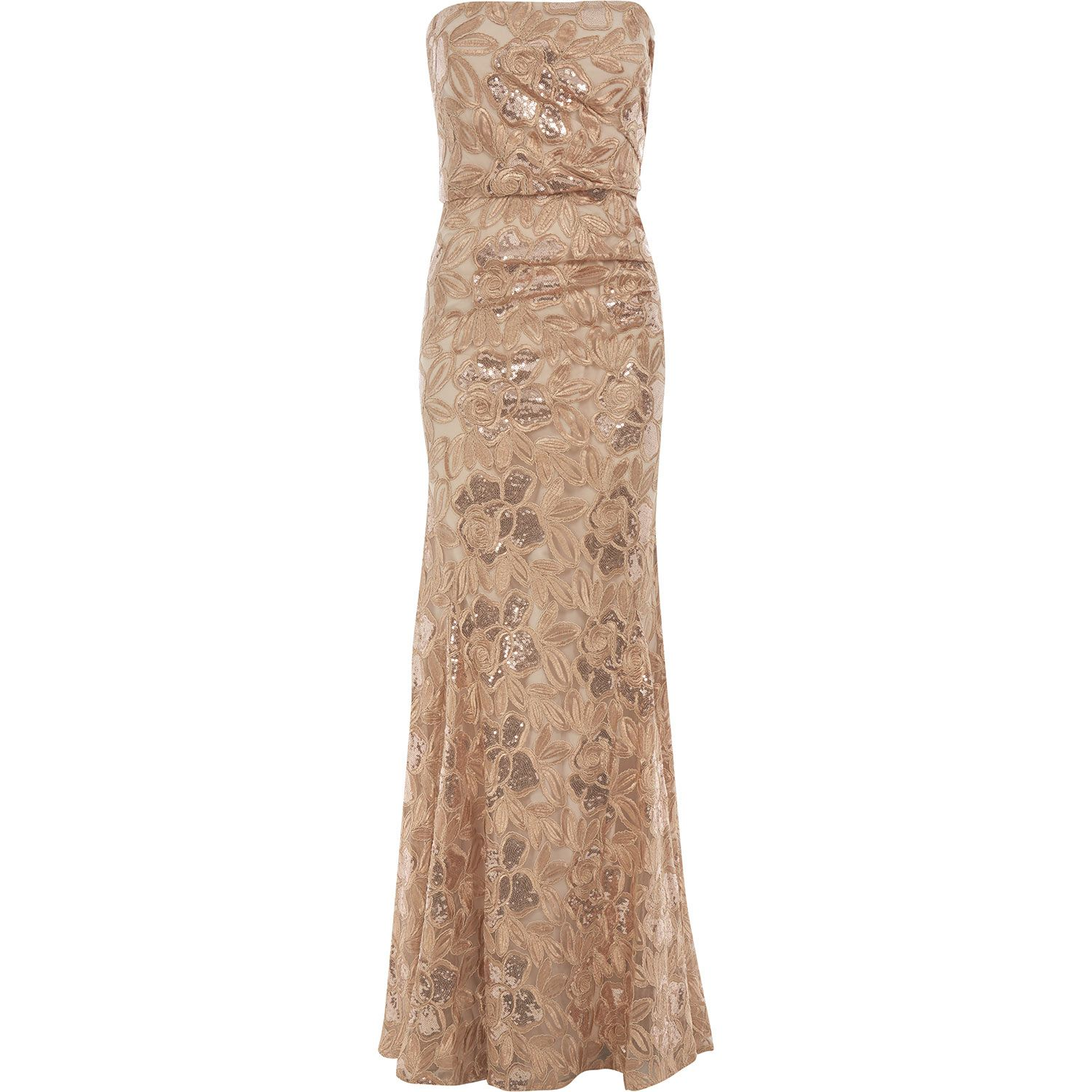 Like New Gold Badgley Mischka Dress Worn Once For A Wedding No Alterations Or Damage