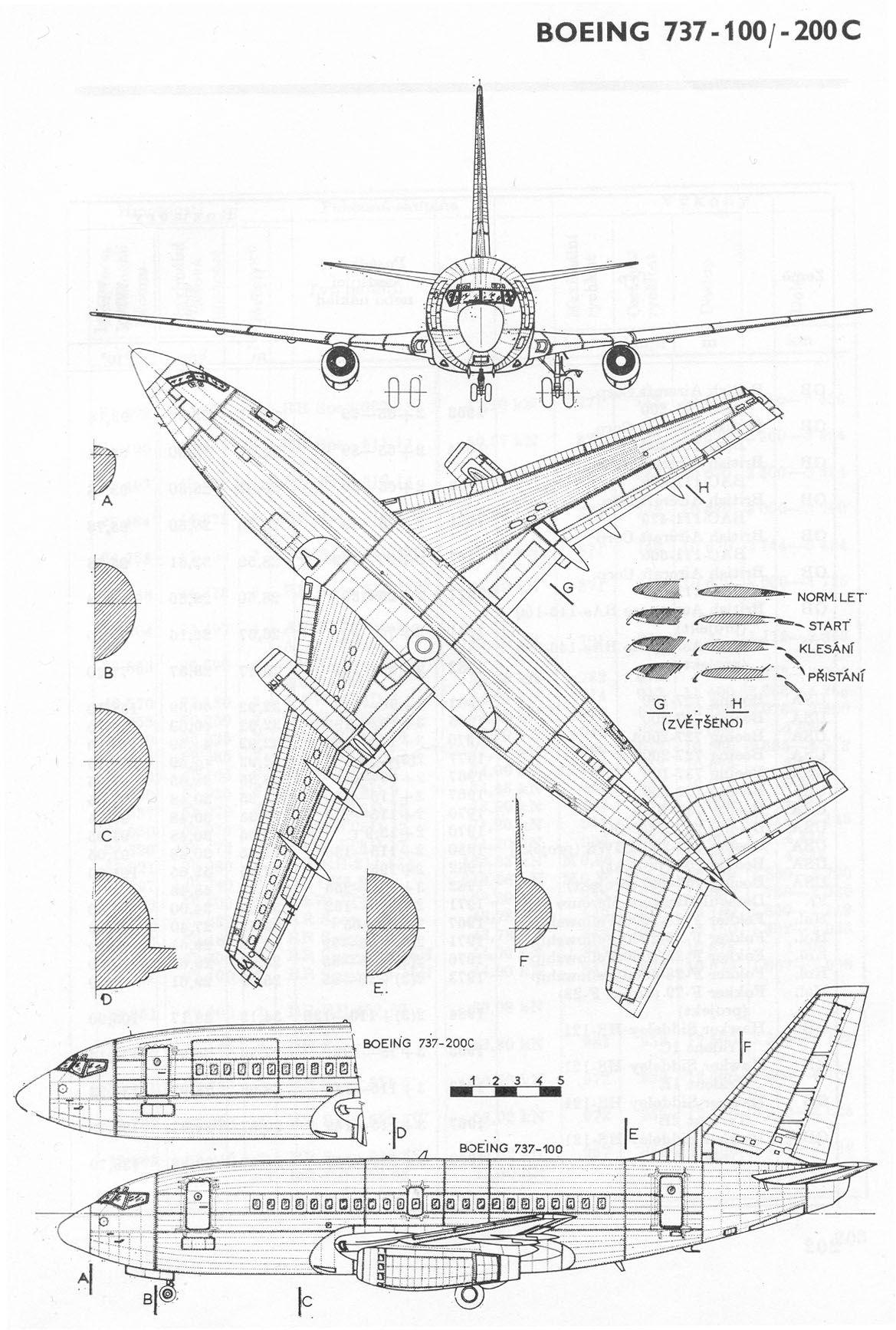 Aircraft Blueprint Boeing 737 100