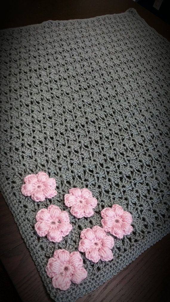 Beautiful Handmade Crochet Baby Girl Gray Blanket with Pink Flower ...