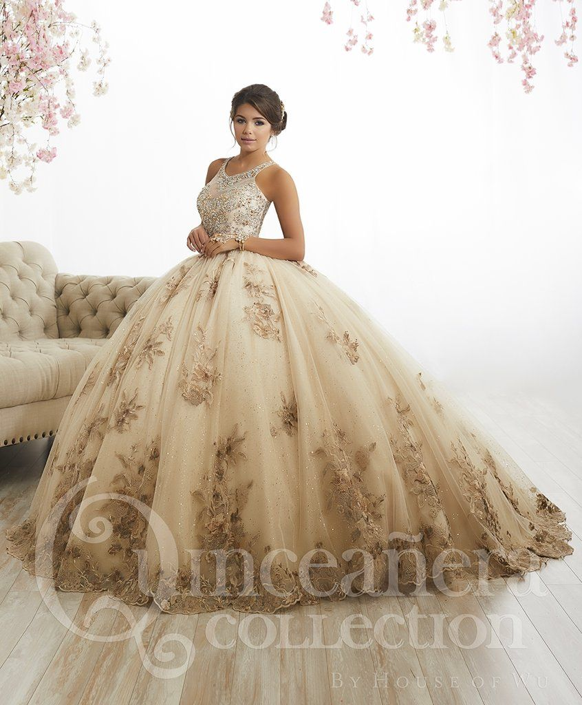 16e040bcd72 Floral Appliqued Quinceanera Dress by House of Wu 26884-House of Wu-ABC  Fashion