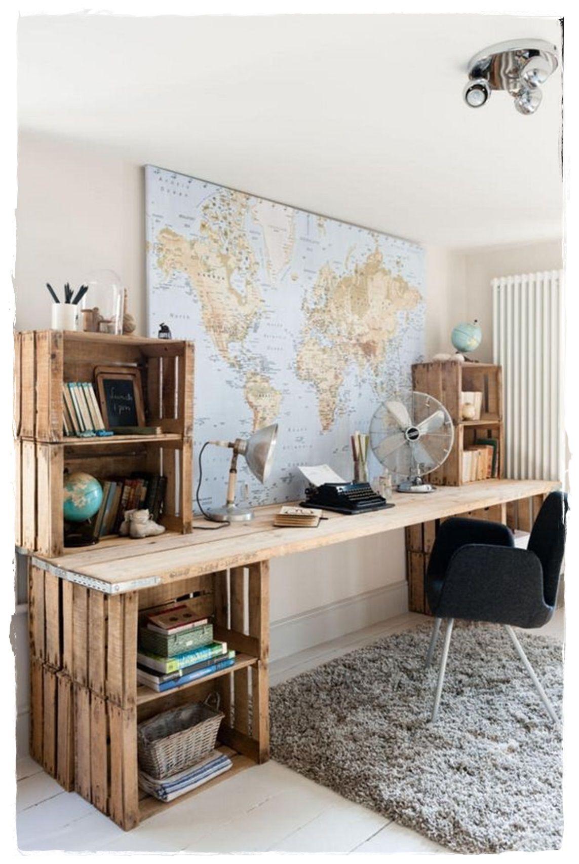 escritorio con cajas de madera recicladas prar cajas de madera