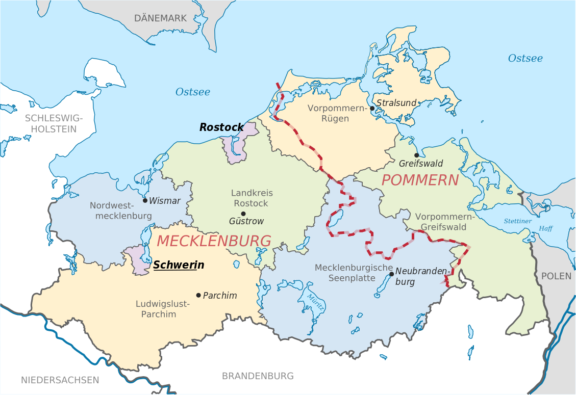mecklenburg vorpommern map districts border mecklenburg western pomerania landkreise grenzen. Black Bedroom Furniture Sets. Home Design Ideas
