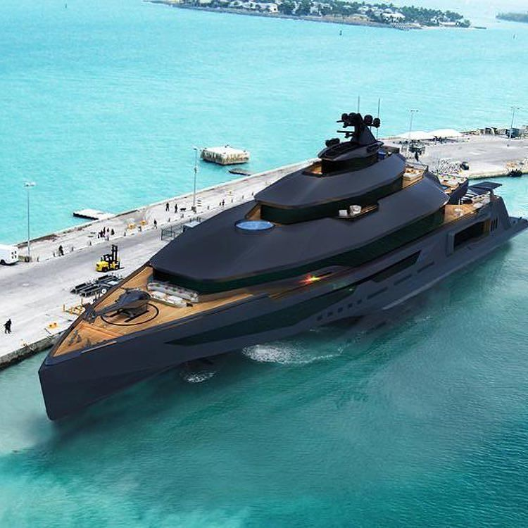 Matte black mega yacht calibr 102 with it 39 s own for Appoggiarsi all aggiunta del garage