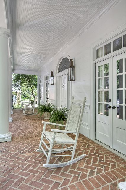 Lovely Herringbone Brick Porch Floor Decks Porches