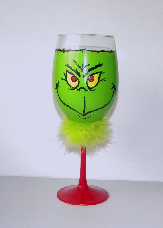 The grinch hand painted wine glass drink in style with for Holiday wine glass crafts