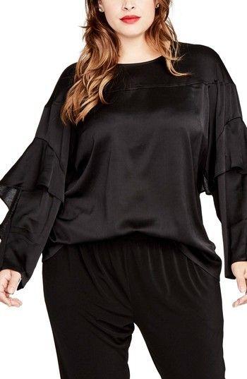 Rachel Roy Plus Size Women's Ruffled Bell Sleeve Blouse