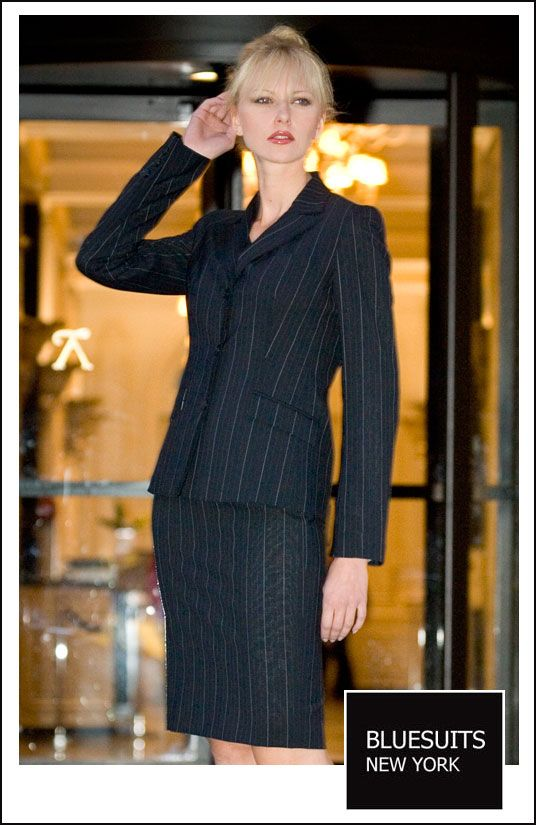 Bluesuits Pinstripe Tropical Wool Womens Business Suit Looks I