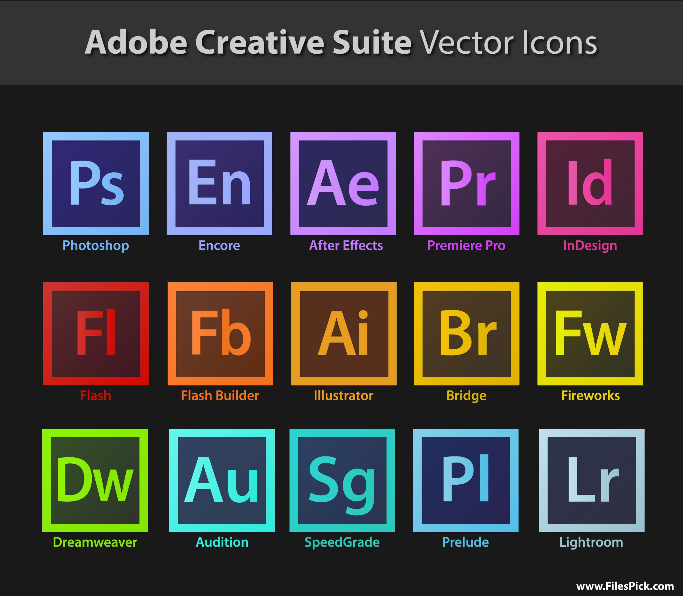 Adobe Creative Suite Vector Icons Creative suite, Adobe
