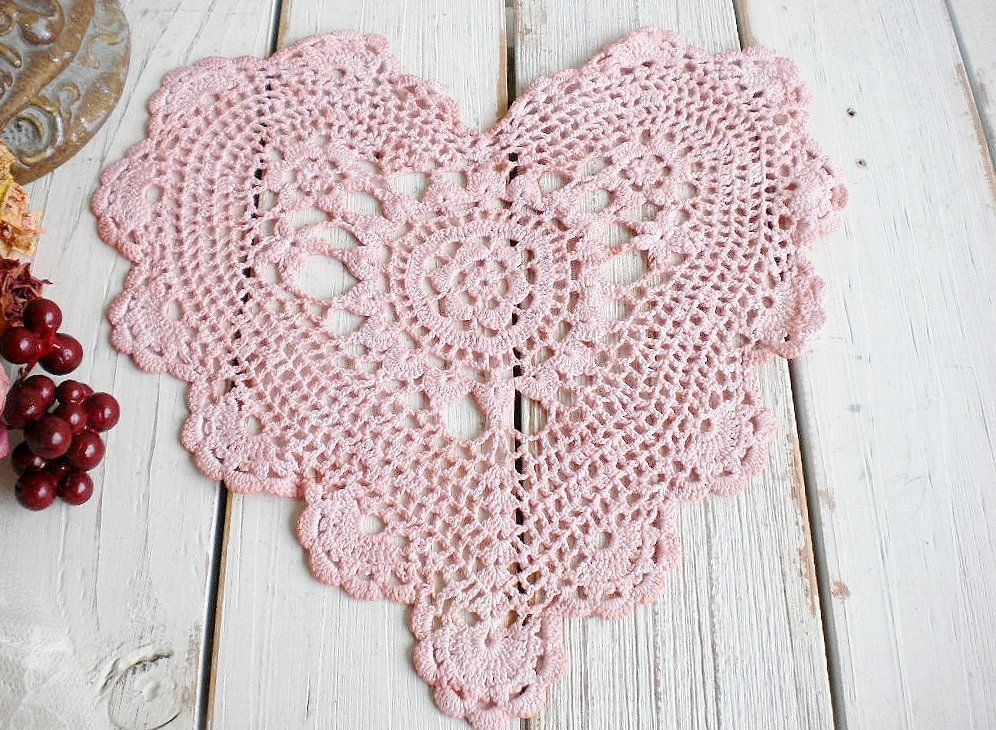Shabby Pink Heart Doily Natural Hand Dyed/ Romanitc