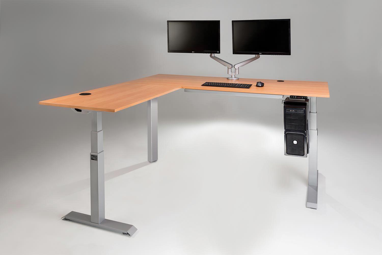 The Mod E Pro Electric L Shaped Standing Desk Multitable In 2020 L Shaped Desk Desk Adjustable Height Standing Desk