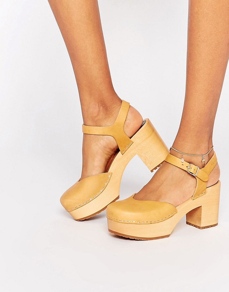 Image 1 of Swedish Hasbeens Tan Leather Krillan Clog Heeled Shoes