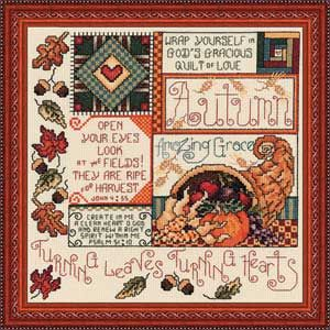 Autumn Turning Leaves Seasons, counted cross-stitch